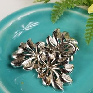 Monet Silvertone Brooch
